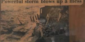 Newspaper clipping showing devastation from a hurricane in Virginia